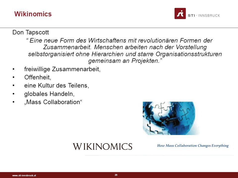 www.sti-innsbruck.at 29 Wikinomics Don Tapscott Eine neue Form des Wirtschaftens mit revolutionären Formen der Zusammenarbeit.