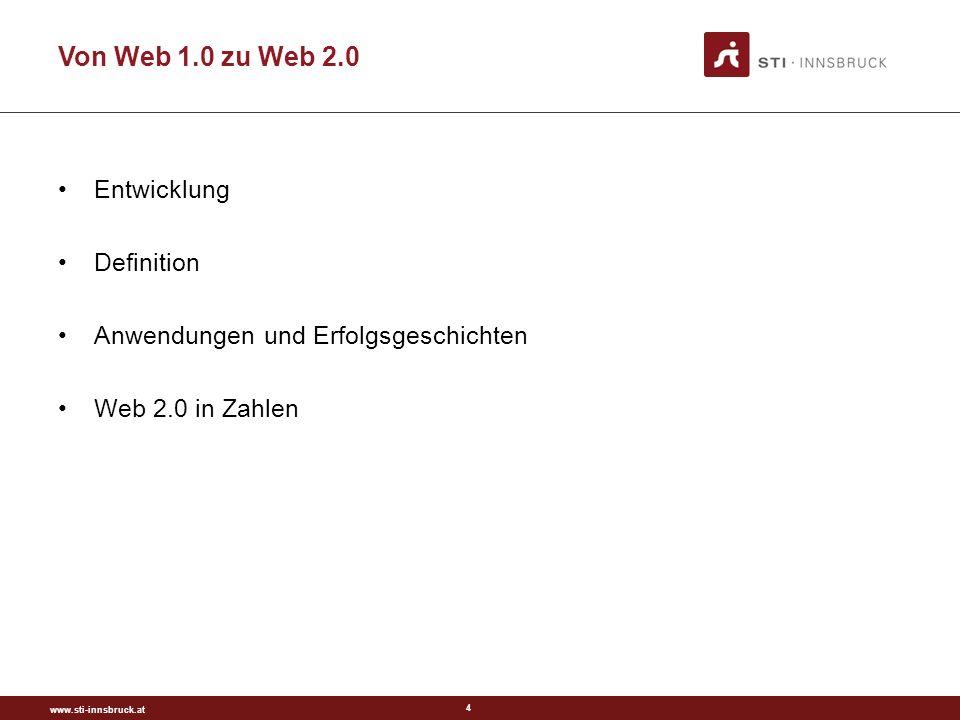 www.sti-innsbruck.at 4 Von Web 1.0 zu Web 2.0 Entwicklung Definition Anwendungen und Erfolgsgeschichten Web 2.0 in Zahlen