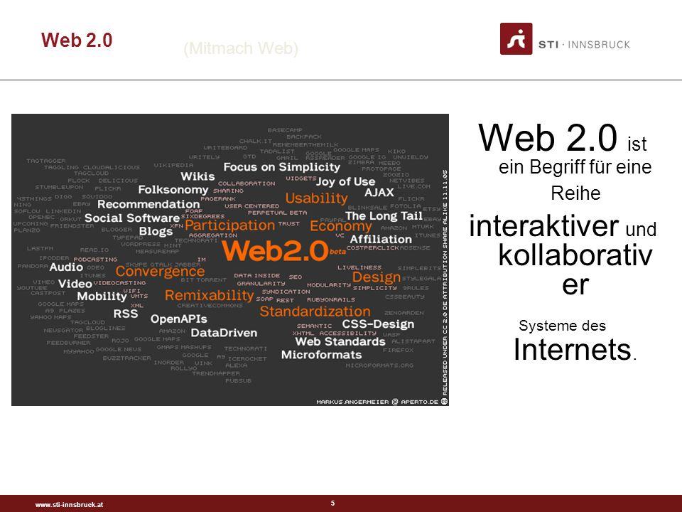 www.sti-innsbruck.at 6 Was ist Web 2.0.Definition von OReilly.