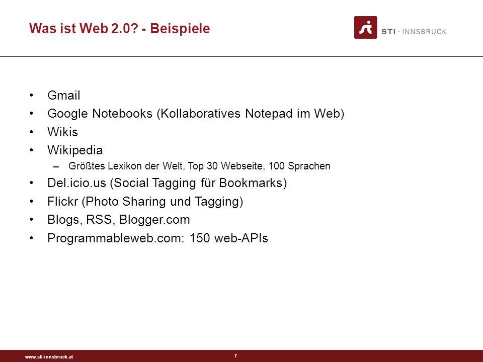 www.sti-innsbruck.at 8 Blogs Einfachere Benutzungsschnittstelle zum Aktualisieren von Inhalten Einfache Organisation der Inhalte Einfachere Nutzung der Inhalte Öffentliche Kommentare Technisch wenig neues Sozial: Kollaborativ (einzeln aber stark vernetzt)