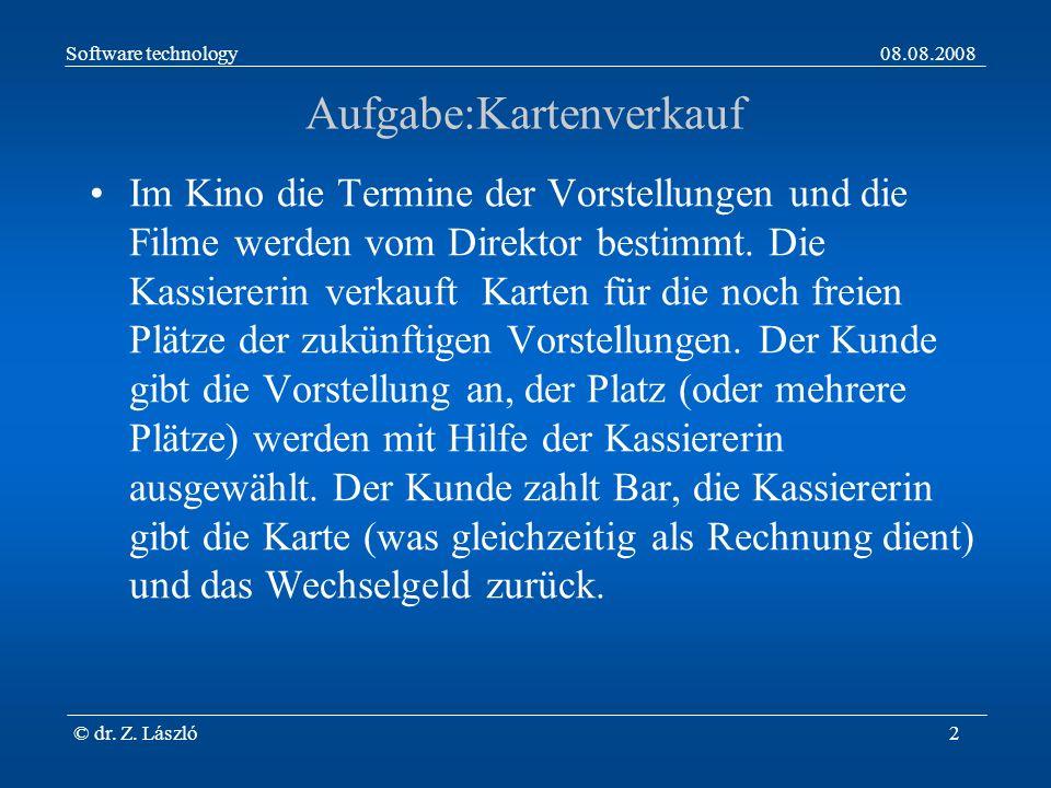 Software technology08.08.2008 © dr. Z. László2 Aufgabe:Kartenverkauf Im Kino die Termine der Vorstellungen und die Filme werden vom Direktor bestimmt.