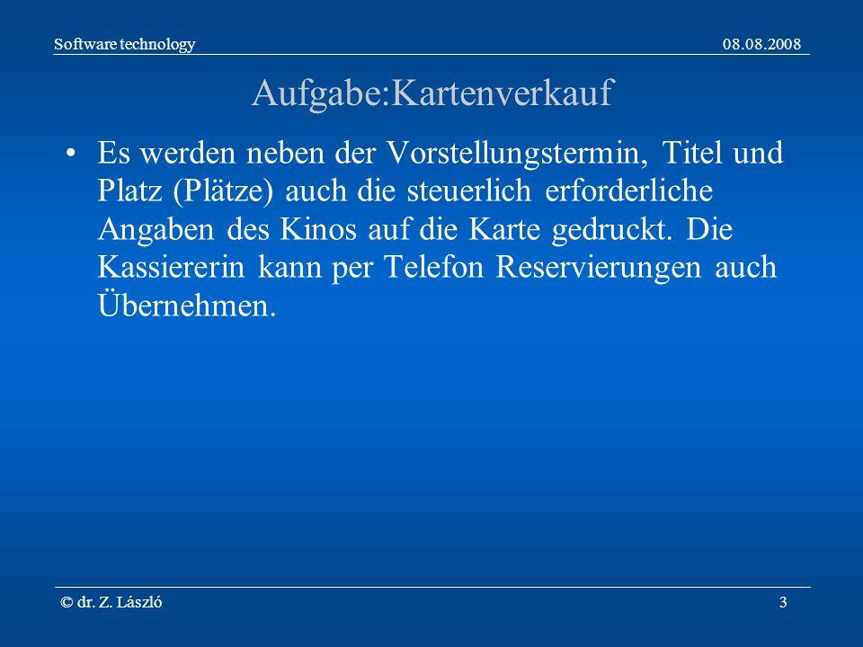 Software technology08.08.2008 © dr. Z. László4 Kartenverkauf, Kontext Diagramm