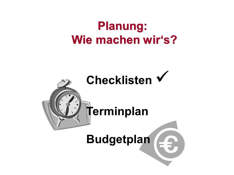 18 Planung: Wie machen wirs? Checklisten Terminplan Budgetplan