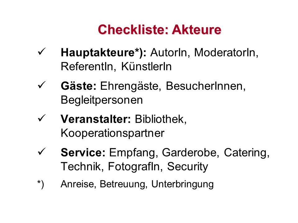 19 Checkliste: Akteure Hauptakteure*): AutorIn, ModeratorIn, ReferentIn, KünstlerIn Gäste: Ehrengäste, BesucherInnen, Begleitpersonen Veranstalter: Bi