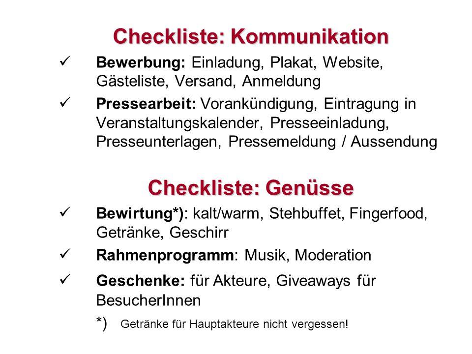 21 Checkliste: Kommunikation Bewerbung: Einladung, Plakat, Website, Gästeliste, Versand, Anmeldung Pressearbeit: Vorankündigung, Eintragung in Veranst