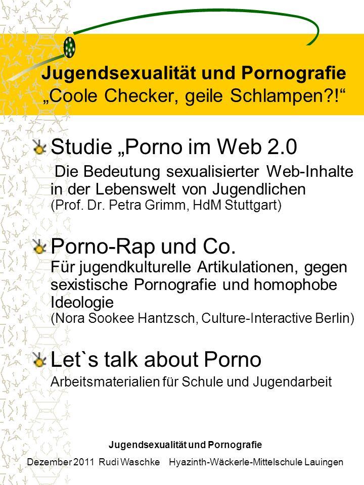 Jugendsexualität und Pornografie Coole Checker, geile Schlampen?! Studie Porno im Web 2.0 Die Bedeutung sexualisierter Web-Inhalte in der Lebenswelt v