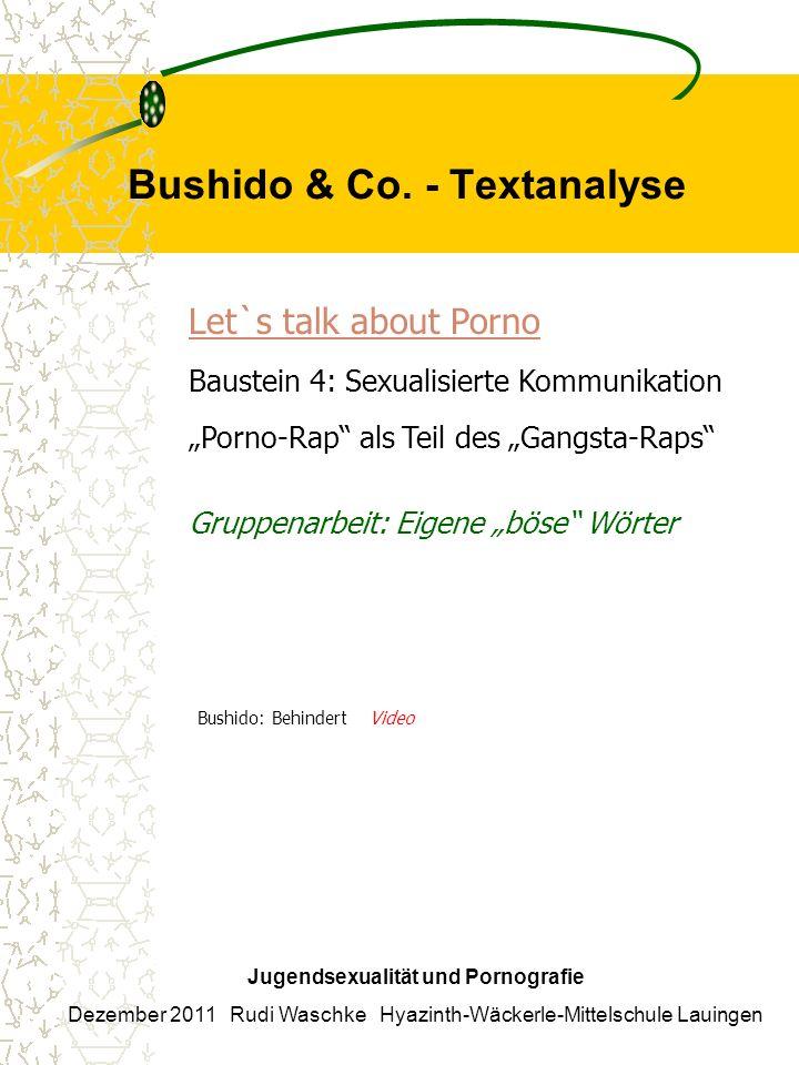 Bushido & Co. - Textanalyse Jugendsexualität und Pornografie Dezember 2011 Rudi Waschke Hyazinth-Wäckerle-Mittelschule Lauingen Let`s talk about Porno