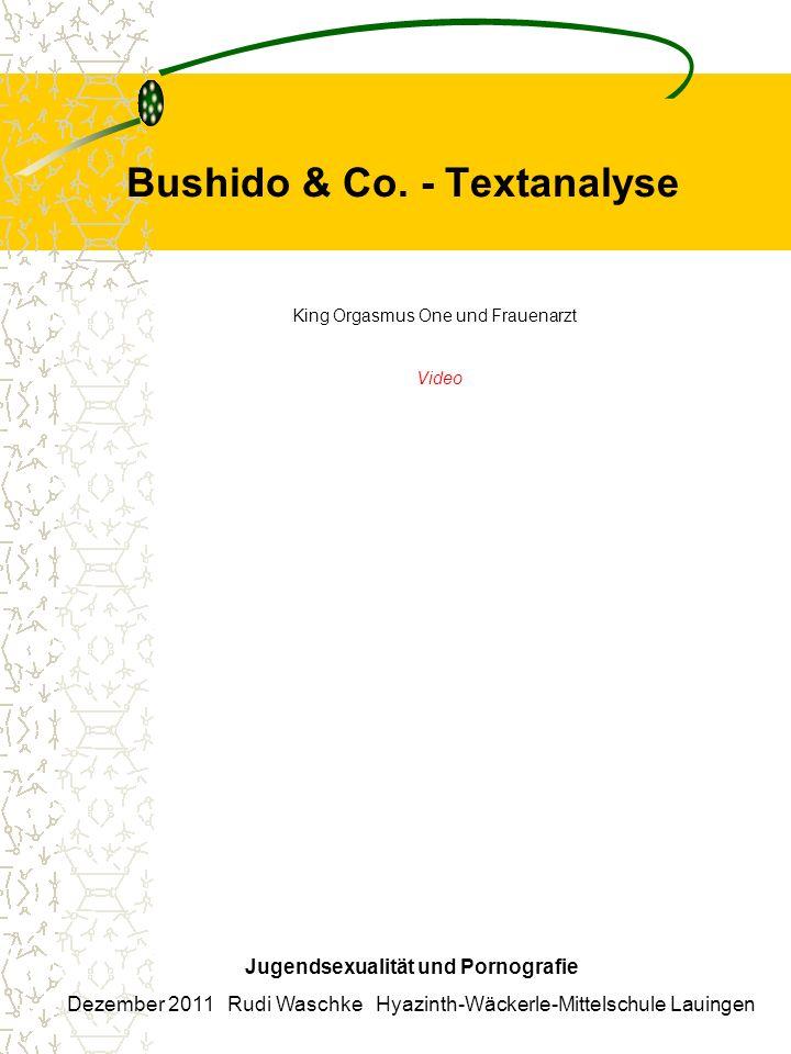 Bushido & Co. - Textanalyse Jugendsexualität und Pornografie Dezember 2011 Rudi Waschke Hyazinth-Wäckerle-Mittelschule Lauingen King Orgasmus One und