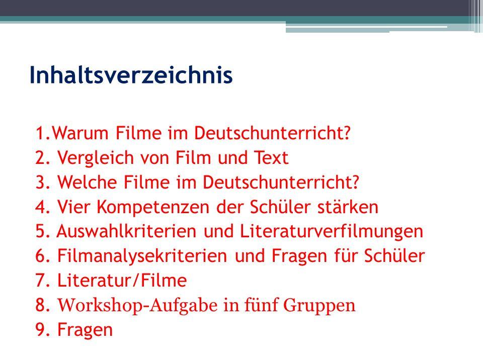 Inhaltsverzeichnis 1.Warum Filme im Deutschunterricht? 2. Vergleich von Film und Text 3. Welche Filme im Deutschunterricht? 4. Vier Kompetenzen der Sc