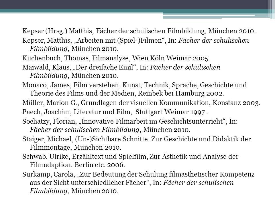 Kepser (Hrsg.) Matthis, Fächer der schulischen Filmbildung, München 2010. Kepser, Matthis, Arbeiten mit (Spiel-)Filmen, In: Fächer der schulischen Fil