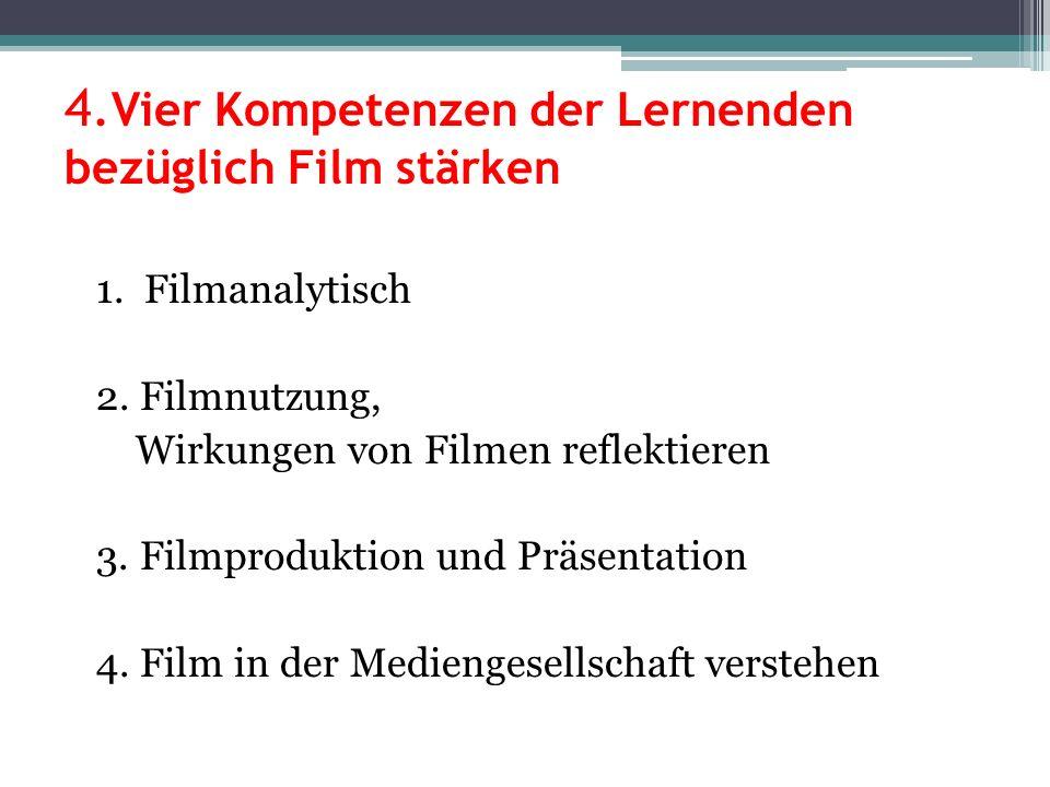 4. Vier Kompetenzen der Lernenden bezüglich Film stärken 1. Filmanalytisch 2. Filmnutzung, Wirkungen von Filmen reflektieren 3. Filmproduktion und Prä