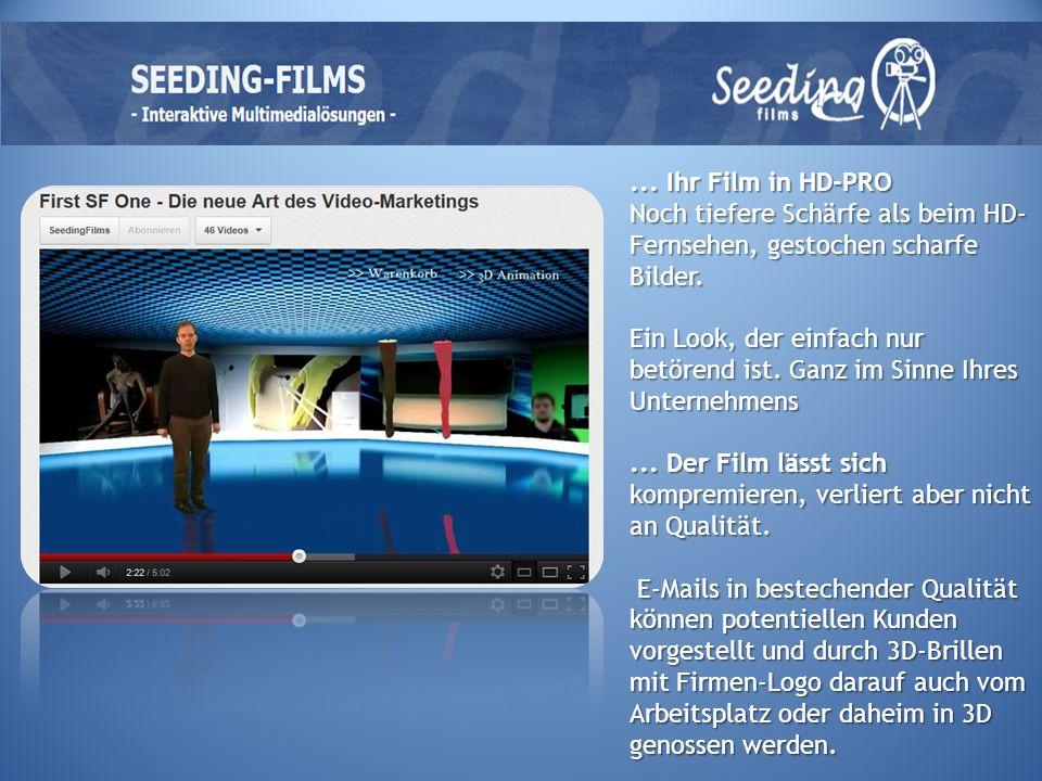 ... Ihr Film in HD-PRO Noch tiefere Schärfe als beim HD- Fernsehen, gestochen scharfe Bilder.