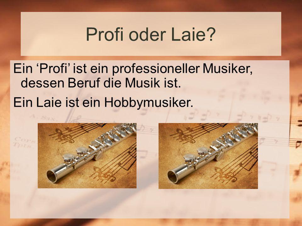 Profi oder Laie.Ein Profi ist ein professioneller Musiker, dessen Beruf die Musik ist.
