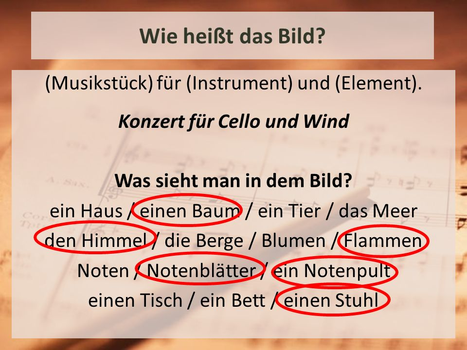 Wie heißt das Bild.(Musikstück) für (Instrument) und (Element).