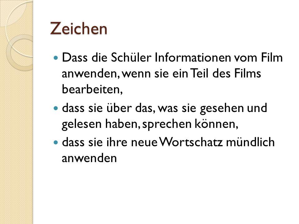 Zeichen Dass die Schüler Informationen vom Film anwenden, wenn sie ein Teil des Films bearbeiten, dass sie über das, was sie gesehen und gelesen haben