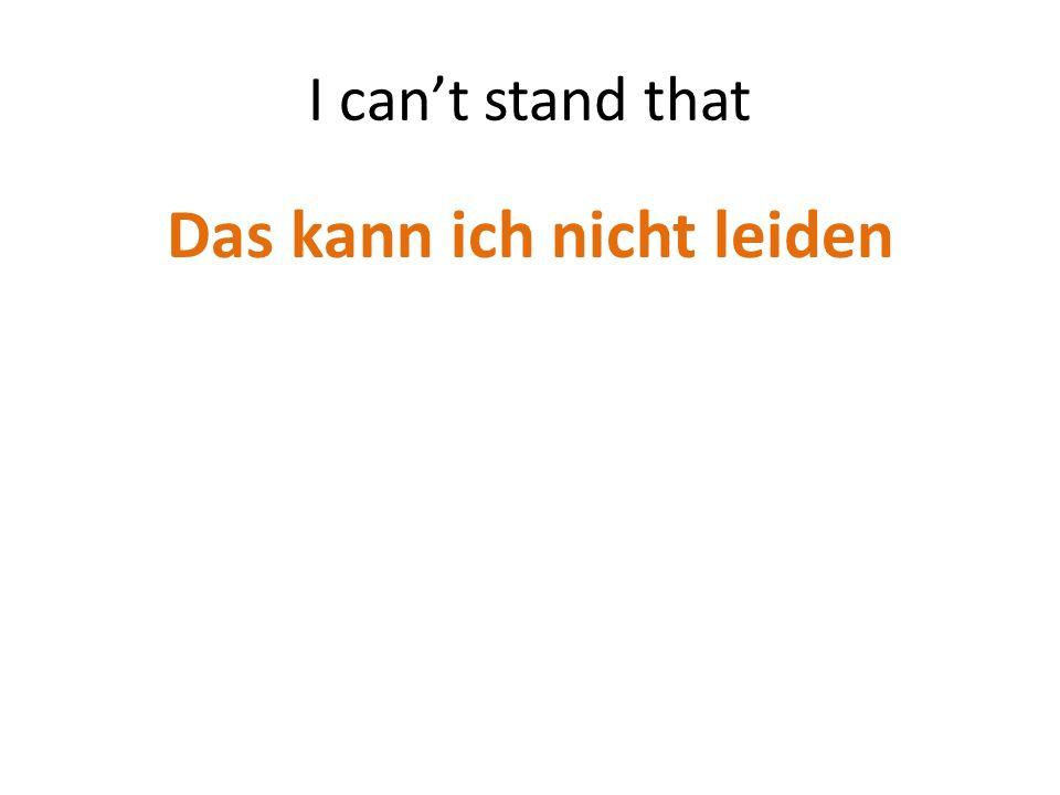 I cant stand that Das kann ich nicht leiden