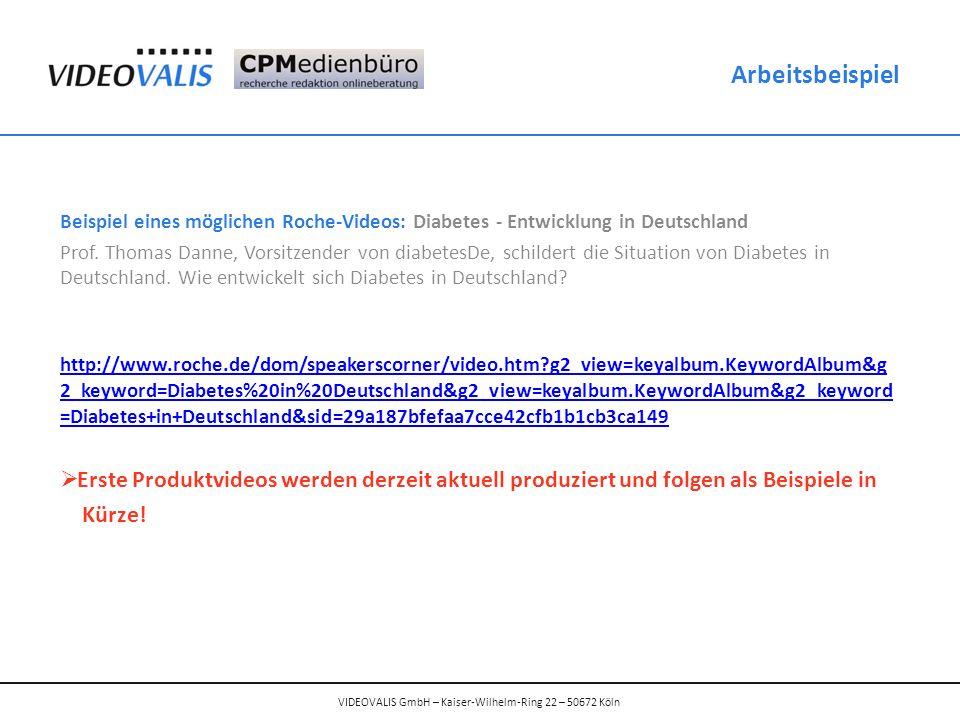 Beispiel eines möglichen Roche-Videos: Diabetes - Entwicklung in Deutschland Prof.