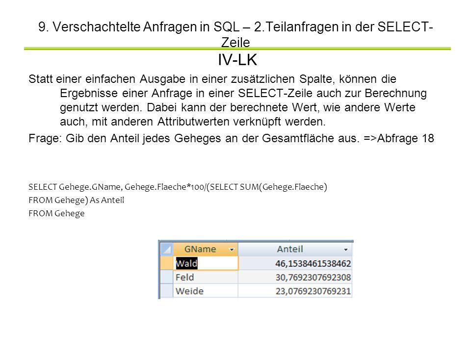 9. Verschachtelte Anfragen in SQL – 2.Teilanfragen in der SELECT- Zeile IV-LK Statt einer einfachen Ausgabe in einer zusätzlichen Spalte, können die E