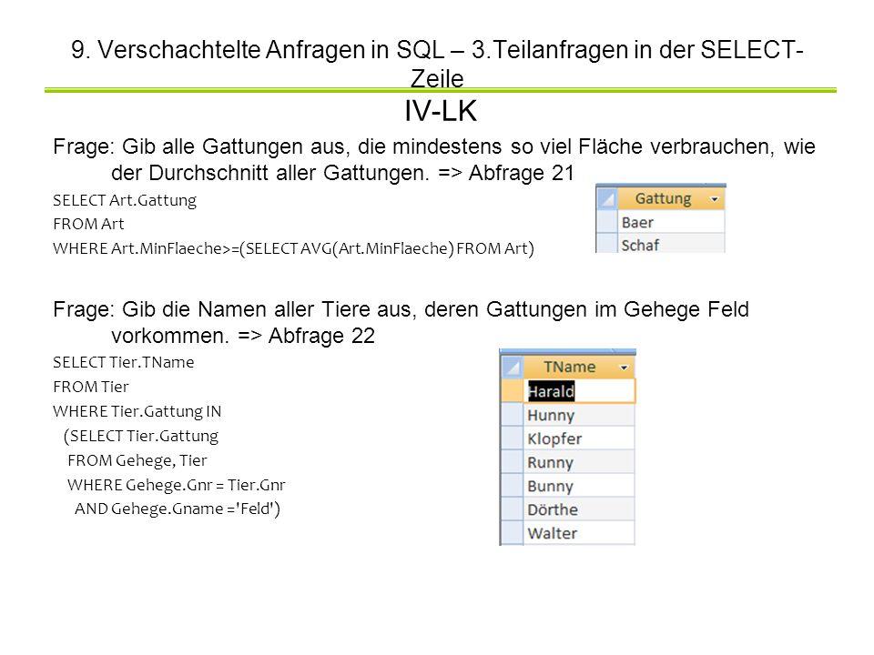 9. Verschachtelte Anfragen in SQL – 3.Teilanfragen in der SELECT- Zeile IV-LK Frage: Gib alle Gattungen aus, die mindestens so viel Fläche verbrauchen