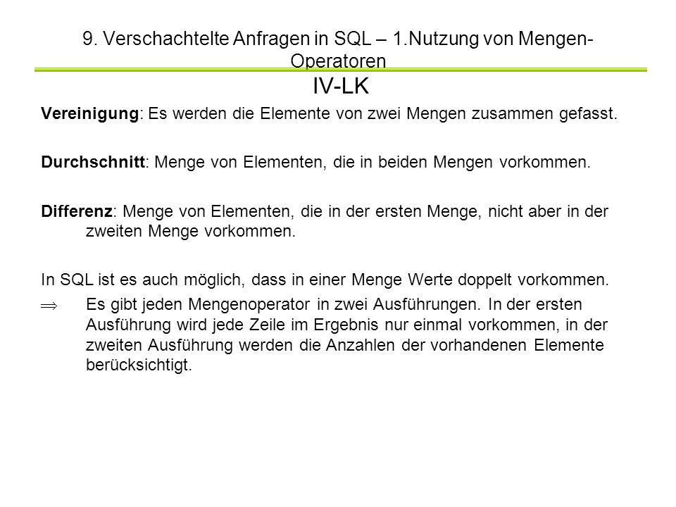 9. Verschachtelte Anfragen in SQL – 1.Nutzung von Mengen- Operatoren IV-LK Vereinigung: Es werden die Elemente von zwei Mengen zusammen gefasst. Durch