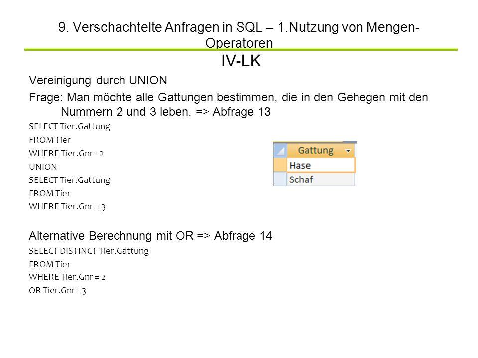 9. Verschachtelte Anfragen in SQL – 1.Nutzung von Mengen- Operatoren IV-LK Vereinigung durch UNION Frage: Man möchte alle Gattungen bestimmen, die in