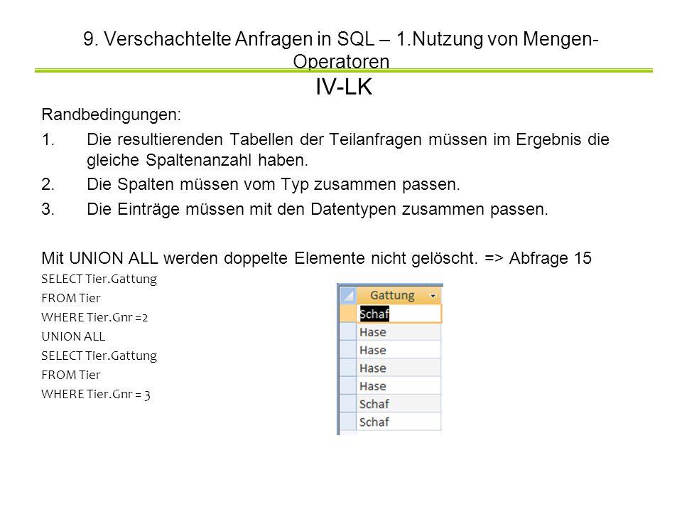 9. Verschachtelte Anfragen in SQL – 1.Nutzung von Mengen- Operatoren IV-LK Randbedingungen: 1.Die resultierenden Tabellen der Teilanfragen müssen im E