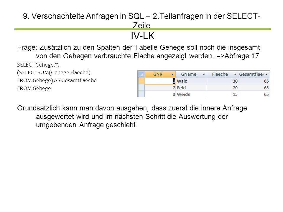 9. Verschachtelte Anfragen in SQL – 2.Teilanfragen in der SELECT- Zeile IV-LK Frage: Zusätzlich zu den Spalten der Tabelle Gehege soll noch die insges