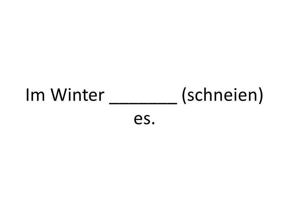 Im Winter _______ (schneien) es.