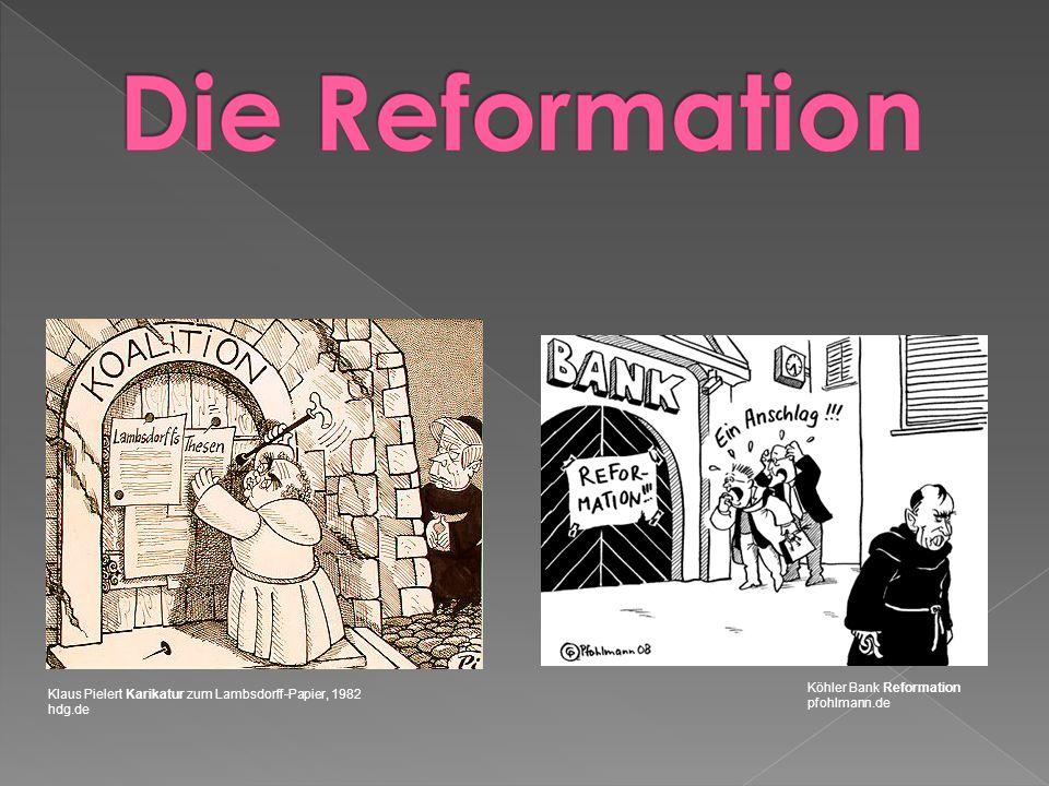 Klaus Pielert Karikatur zum Lambsdorff-Papier, 1982 hdg.de Köhler Bank Reformation pfohlmann.de