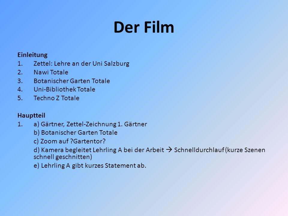 Der Film Einleitung 1.Zettel: Lehre an der Uni Salzburg 2.Nawi Totale 3.Botanischer Garten Totale 4.Uni-Bibliothek Totale 5.Techno Z Totale Hauptteil