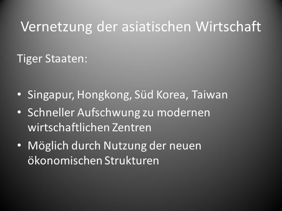 Vernetzung der asiatischen Wirtschaft Tiger Staaten: Singapur, Hongkong, Süd Korea, Taiwan Schneller Aufschwung zu modernen wirtschaftlichen Zentren M