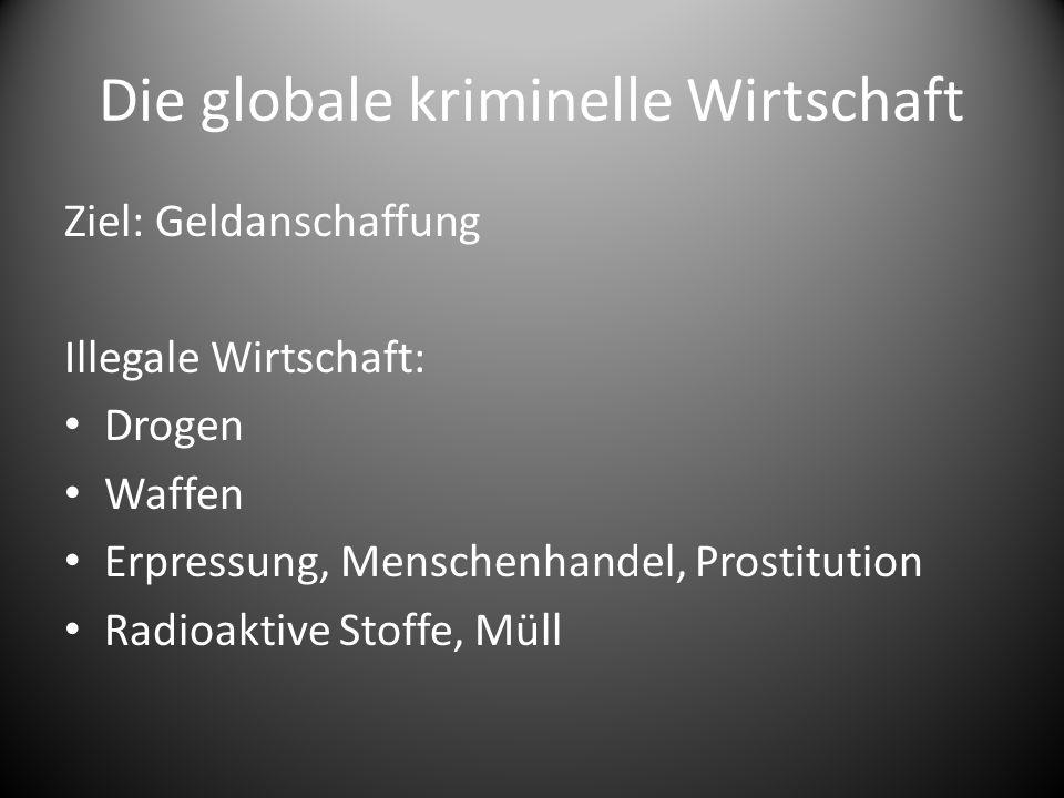 Die globale kriminelle Wirtschaft Ziel: Geldanschaffung Illegale Wirtschaft: Drogen Waffen Erpressung, Menschenhandel, Prostitution Radioaktive Stoffe