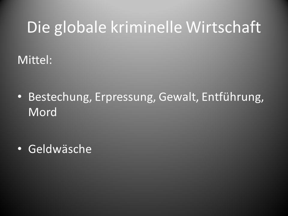 Die globale kriminelle Wirtschaft Interne und externe Vernetzung Hierarchischer Aufbau Vernetzung zu anderen kriminellen Organisationen – Tauschgeschäfte – Gemeinsame Handelsrouten Expansion in andere Kontinente