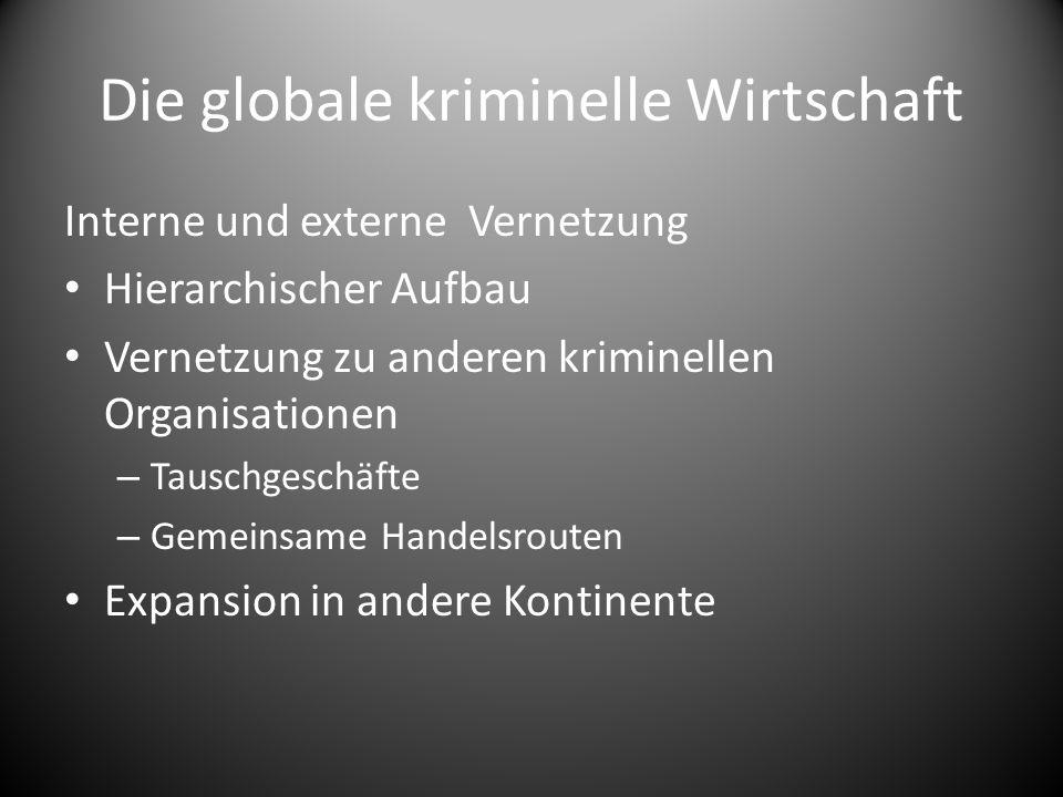 Die globale kriminelle Wirtschaft Interne und externe Vernetzung Hierarchischer Aufbau Vernetzung zu anderen kriminellen Organisationen – Tauschgeschä