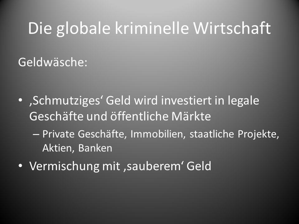 Die globale kriminelle Wirtschaft Geldwäsche:,Schmutziges Geld wird investiert in legale Geschäfte und öffentliche Märkte – Private Geschäfte, Immobil