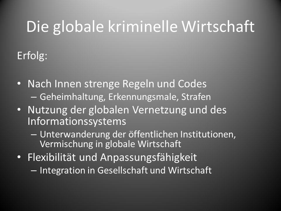 Die globale kriminelle Wirtschaft Erfolg: Nach Innen strenge Regeln und Codes – Geheimhaltung, Erkennungsmale, Strafen Nutzung der globalen Vernetzung