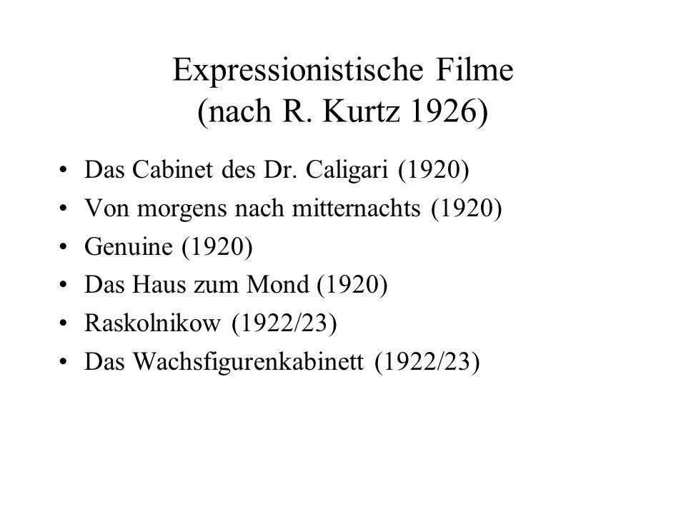 Expressionistische Filme (nach R. Kurtz 1926) Das Cabinet des Dr. Caligari (1920) Von morgens nach mitternachts (1920) Genuine (1920) Das Haus zum Mon