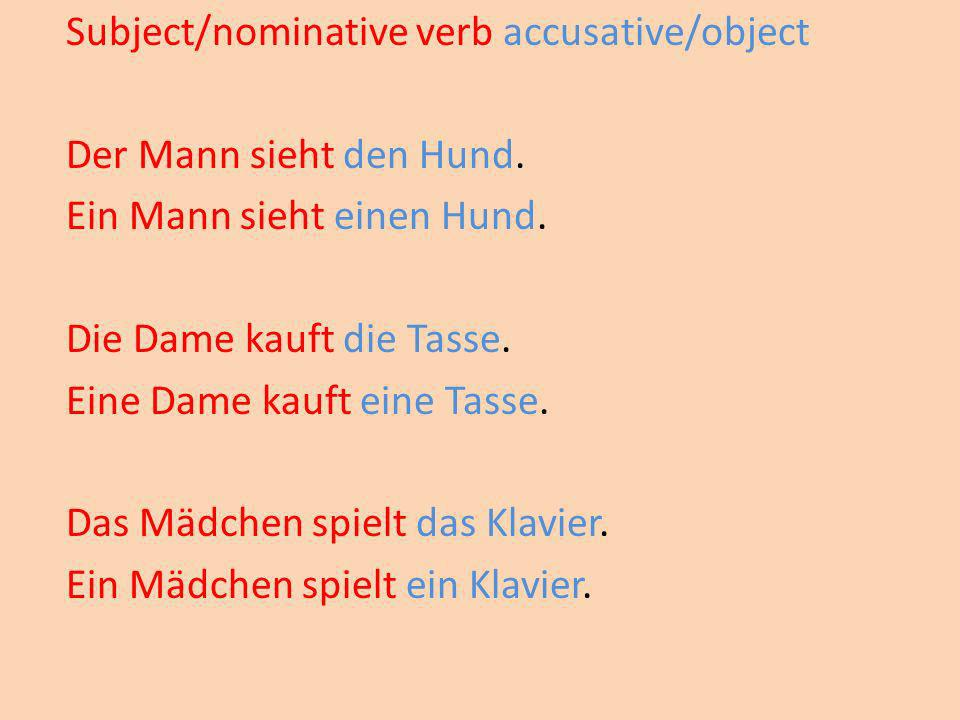 Subject/nominative verb accusative/object Der Mann sieht den Hund.