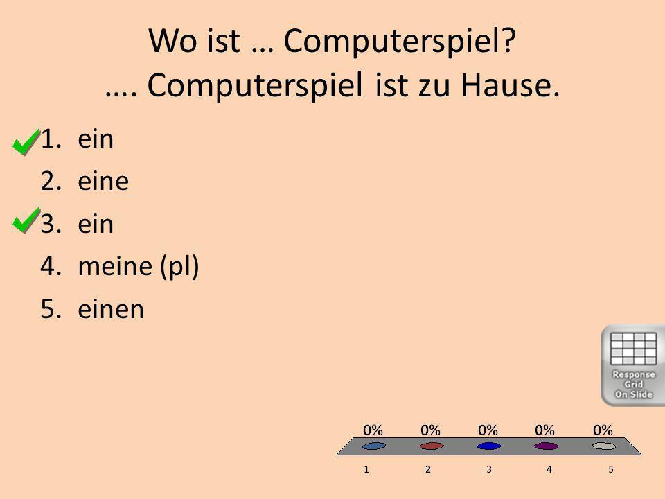 Wo ist … Computerspiel …. Computerspiel ist zu Hause. 1.ein 2.eine 3.ein 4.meine (pl) 5.einen