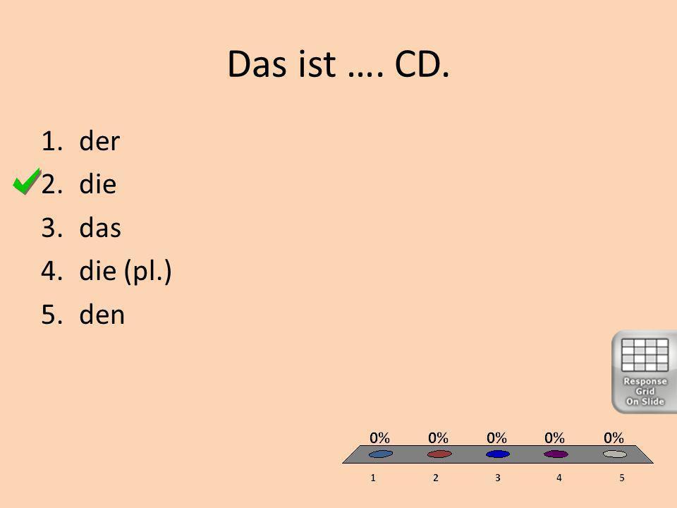 Das ist …. CD. 1.der 2.die 3.das 4.die (pl.) 5.den