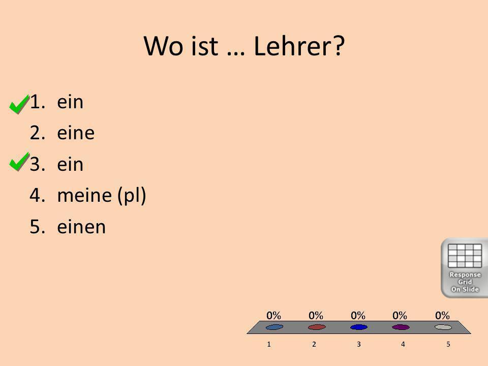 Wo ist … Lehrer 1.ein 2.eine 3.ein 4.meine (pl) 5.einen