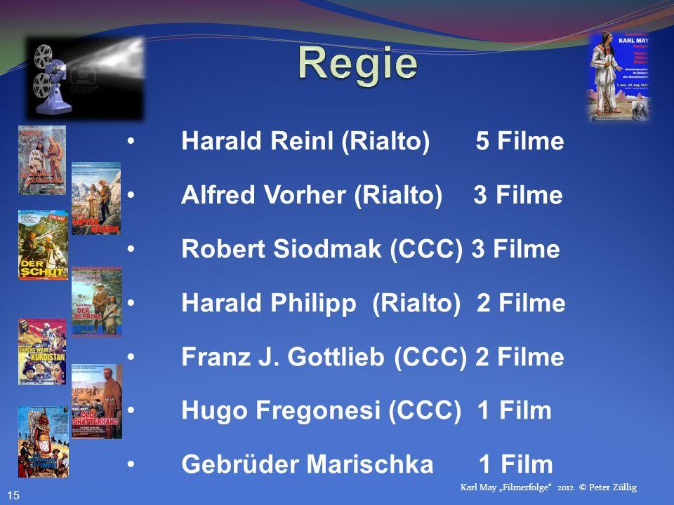 Karl May Filmerfolge 2012 © Peter Züllig Harald Reinl (Rialto) 5 Filme Alfred Vorher (Rialto) 3 Filme Robert Siodmak (CCC) 3 Filme Harald Philipp (Rialto) 2 Filme Franz J.