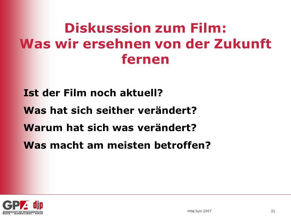 Diskusssion zum Film: Was wir ersehnen von der Zukunft fernen mta/Juni 200721 Ist der Film noch aktuell? Was hat sich seither verändert? Warum hat sic