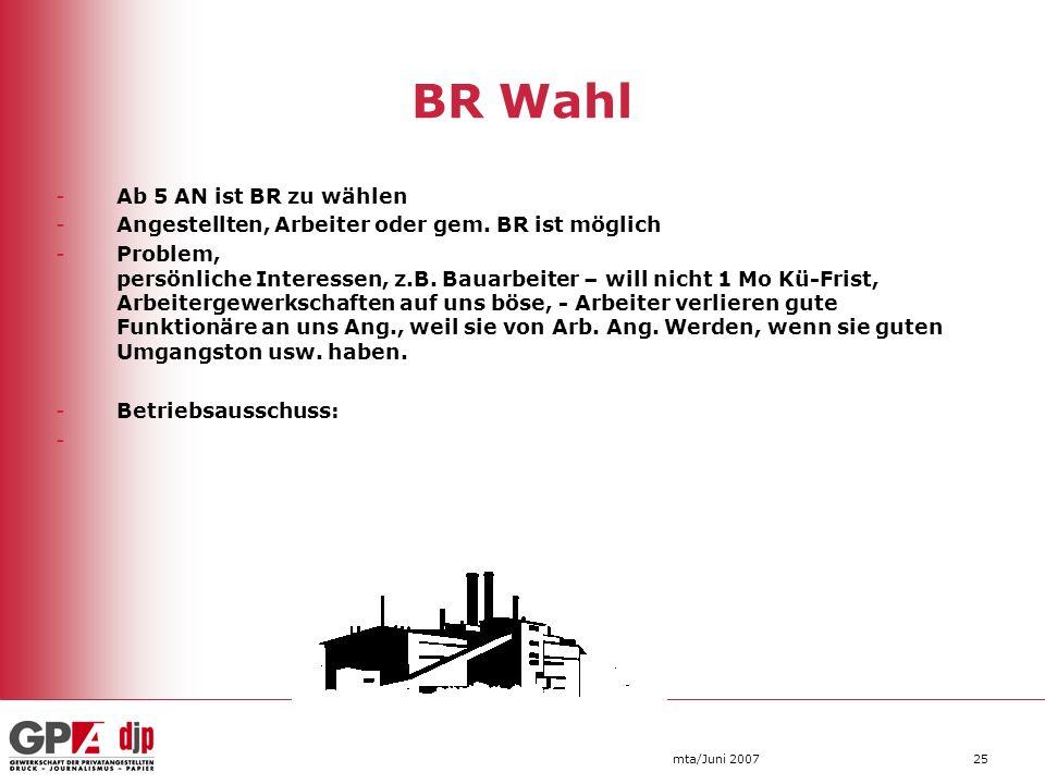 mta/Juni 200725 BR Wahl -Ab 5 AN ist BR zu wählen -Angestellten, Arbeiter oder gem. BR ist möglich -Problem, persönliche Interessen, z.B. Bauarbeiter