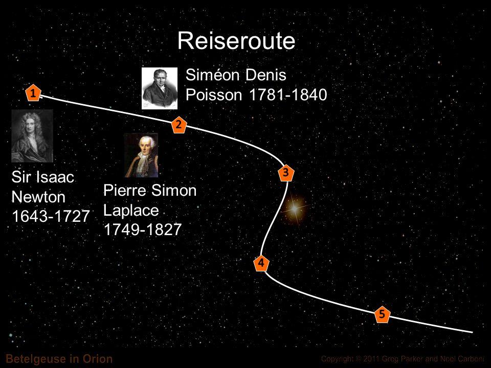 Reiseroute Sir Isaac Newton 1643-1727 Siméon Denis Poisson 1781-1840 Pierre Simon Laplace 1749-1827