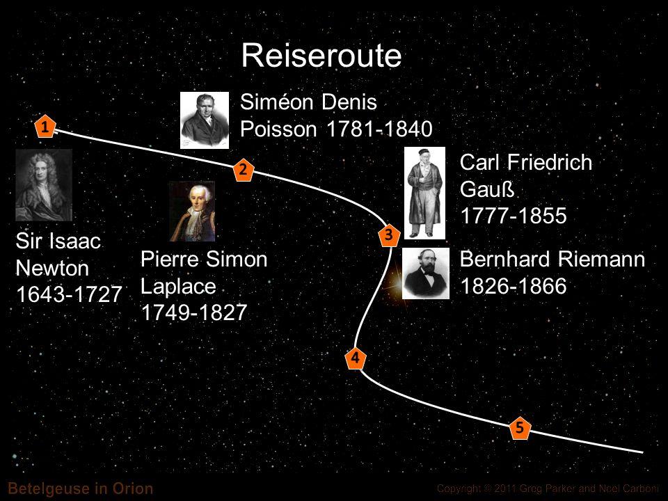 Reiseroute Sir Isaac Newton 1643-1727 Siméon Denis Poisson 1781-1840 Pierre Simon Laplace 1749-1827 Carl Friedrich Gauß 1777-1855 Bernhard Riemann 182