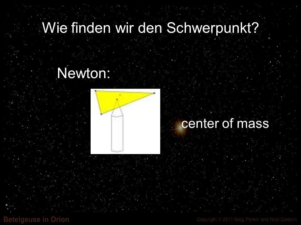 Wie finden wir den Schwerpunkt? center of mass Newton: