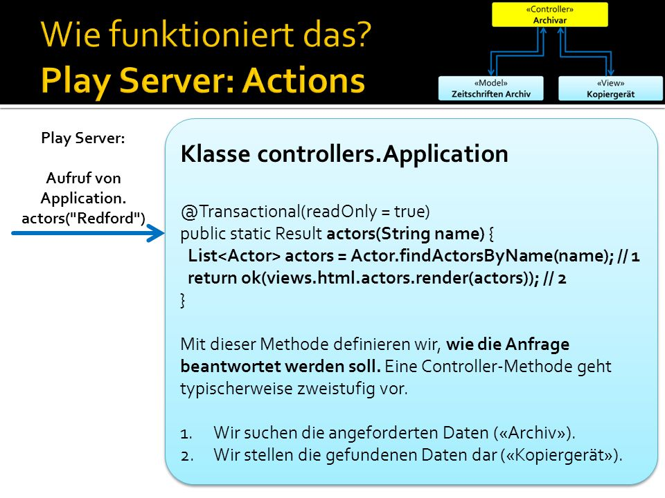 Klasse controllers.Application @Transactional(readOnly = true) public static Result actors(String name) { List actors = Actor.findActorsByName(name);