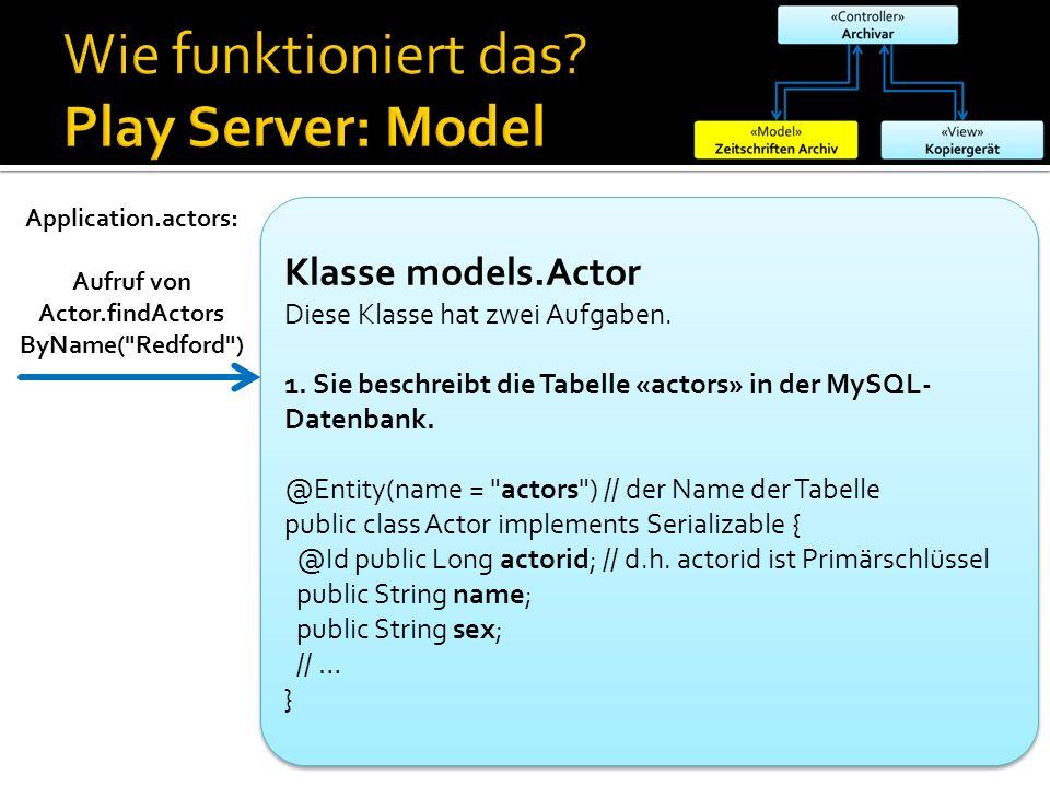 Application.actors: Aufruf von Actor.findActors ByName( Redford ) Klasse models.Actor Diese Klasse hat zwei Aufgaben.
