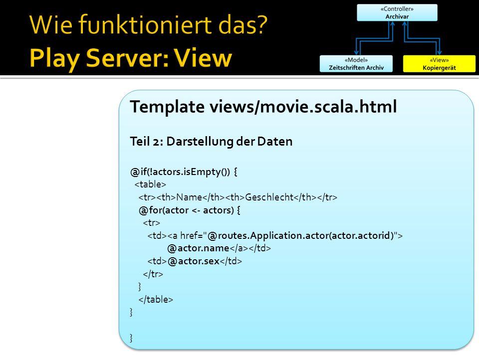 Template views/movie.scala.html Teil 2: Darstellung der Daten @if(!actors.isEmpty()) { Name Geschlecht @for(actor <- actors) { @actor.name @actor.sex